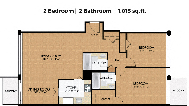 2 bedroom Apartments for rent in Cote-des-Neiges at Place Concorde - Floorplan 01 - RentQuebecApartments – L406447