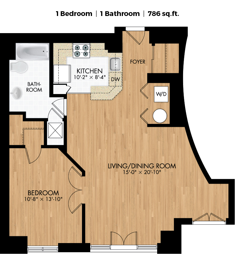 1 bedroom Apartments for rent in Montreal (Downtown) at Le Demetrius - Floorplan 01 - RentQuebecApartments – L406284