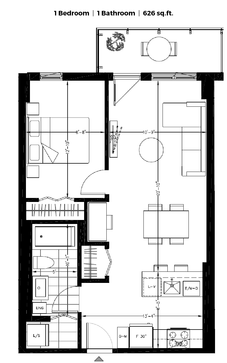 1 bedroom Apartments for rent in Montreal (Downtown) at The Shaughn - Floorplan 01 - RentQuebecApartments – L406288