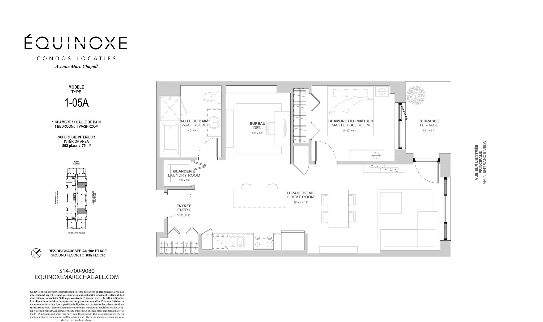 luxurious 1 bedroom Condos for rent in Cote-St-Luc at Collection Equinoxe - Marc Chagall - Floorplan 01 - RentQuebecApartments – L293824