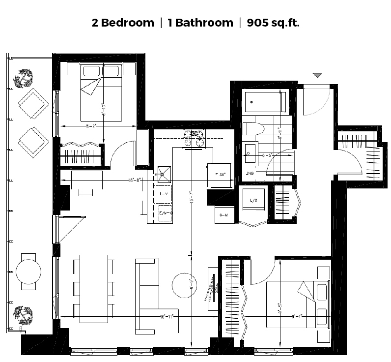 2 bedroom Apartments for rent in Montreal (Downtown) at The Shaughn - Floorplan 01 - RentQuebecApartments – L406289