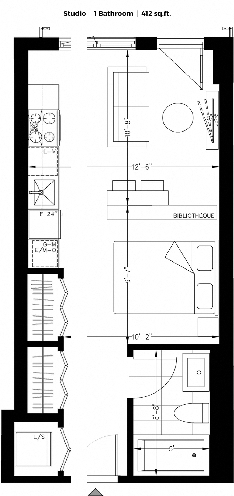 Studio / Bachelor Apartments for rent in Montreal (Downtown) at The Shaughn - Floorplan 01 - RentQuebecApartments – L406287