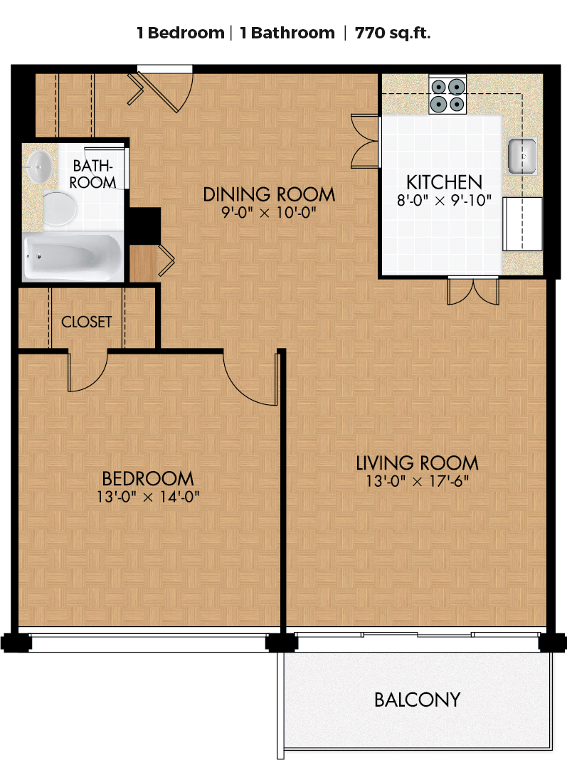 1 bedroom Apartments for rent in Cote-des-Neiges at Place Concorde - Floorplan 01 - RentQuebecApartments – L406445