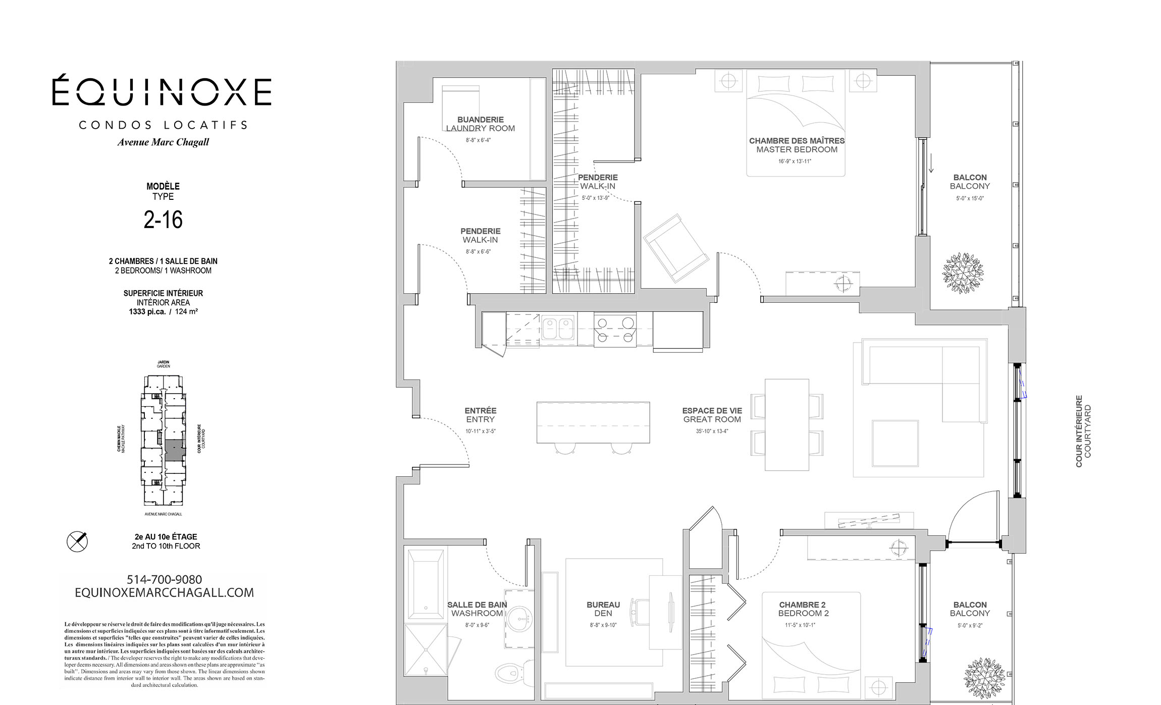 luxurious 2 bedroom Condos for rent in Cote-St-Luc at Collection Equinoxe - Marc Chagall - Floorplan 01 - RentQuebecApartments – L293822