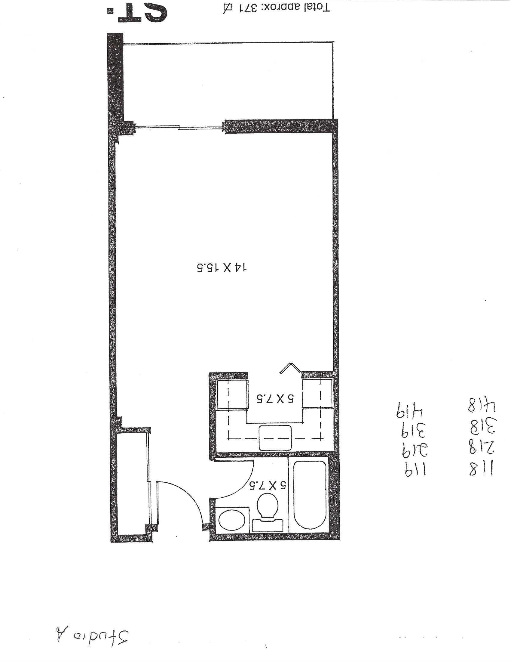 Studio / Bachelor Apartments for rent in Pointe-aux-Trembles at Habitations de la Rousseliere - Floorplan 01 - RentQuebecApartments – L1920
