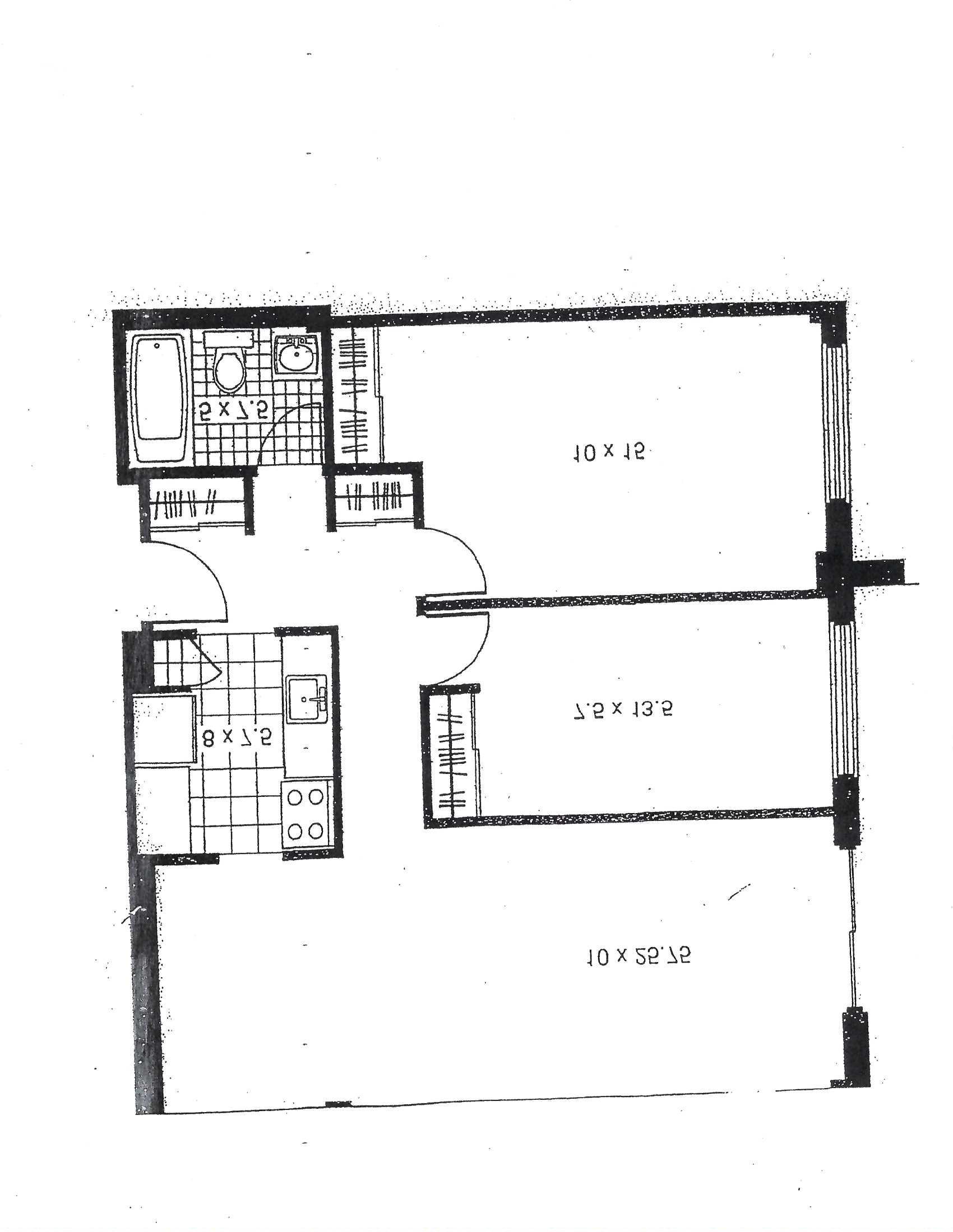 2 bedroom Apartments for rent in Pointe-aux-Trembles at Habitations de la Rousseliere - Floorplan 01 - RentQuebecApartments – L1922