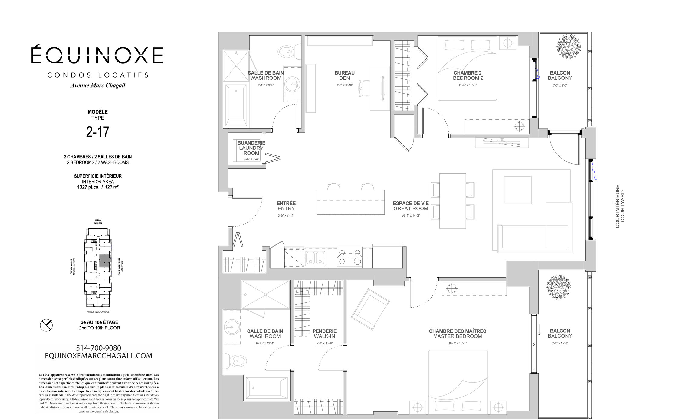 luxurious 2 bedroom Condos for rent in Cote-St-Luc at Collection Equinoxe - Marc Chagall - Floorplan 01 - RentQuebecApartments – L293825