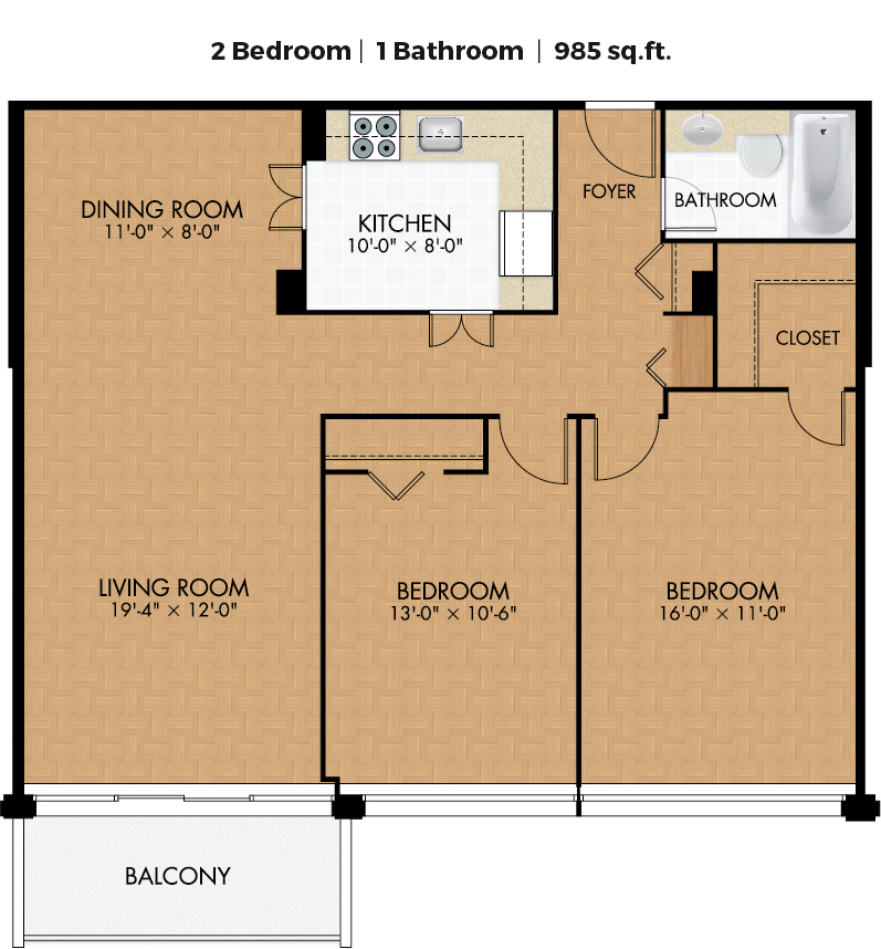 2 bedroom Apartments for rent in Cote-des-Neiges at Place Concorde - Floorplan 01 - RentQuebecApartments – L406446