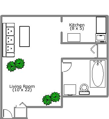 Studio / Bachelor Apartments for rent in Montreal (Downtown) at 2150 Mackay - Floorplan 01 - RentQuebecApartments – L3741
