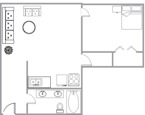 1 bedroom Apartments for rent in Montreal (Downtown) at 1650 LincolN - Floorplan 01 - RentQuebecApartments – L3737