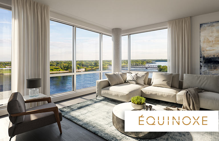 luxurious 1 bedroom Condos for rent in Laval at Collection Equinoxe - Levesque - Photo 02 - RentQuebecApartments – L351126